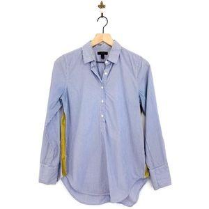 J.Crew Gold Stripe Popover Shirt Size 4 Blue B6325